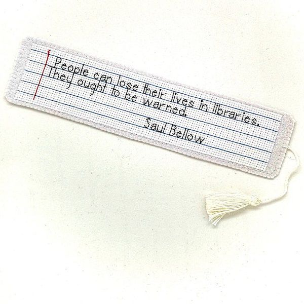 Hand embroidered bookmark with a quote of Saul Bellow by EasyToMakeDesigns