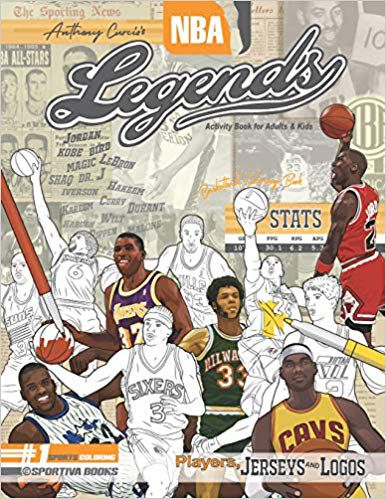 NBA Legends- Basketball Coloring & Activity Book for Adults and Kids- Players, Jerseys and Logos (35 Best Biography)