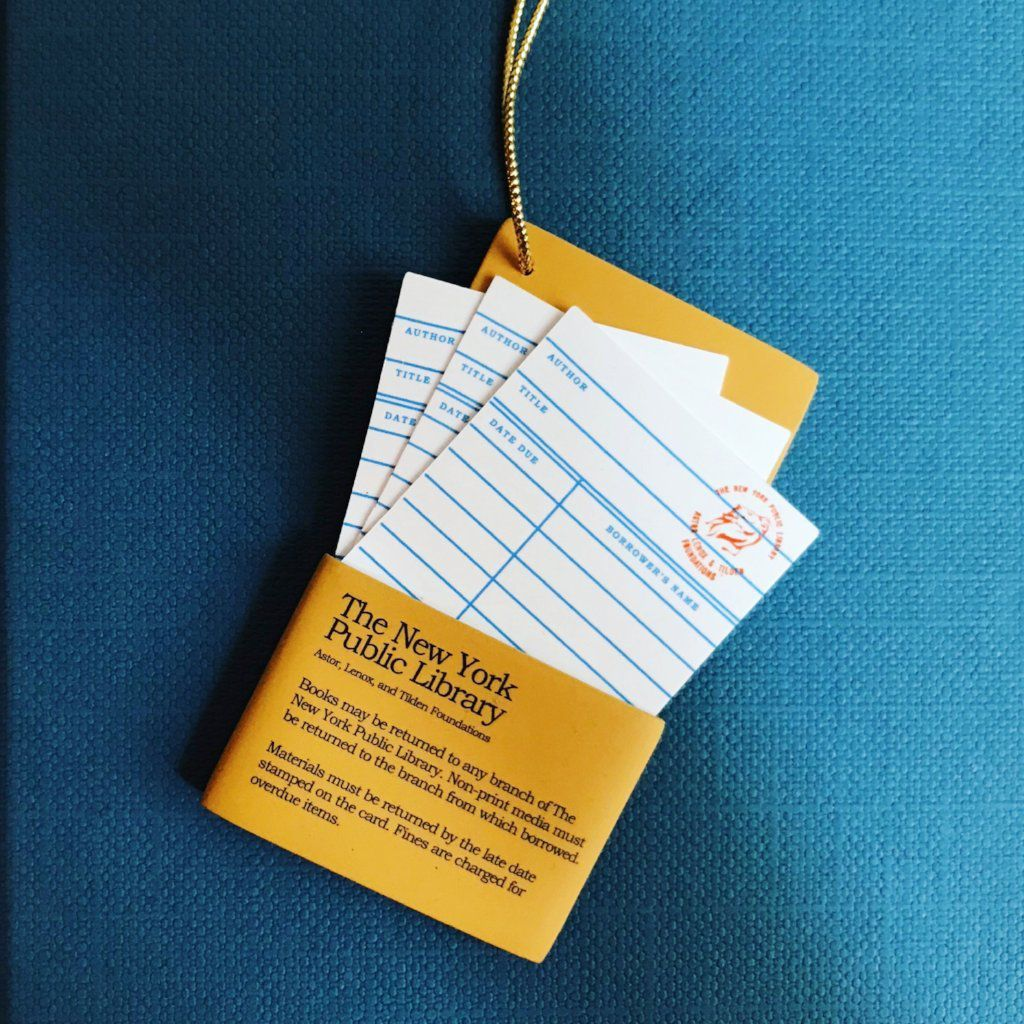 NYPL due date card ornament