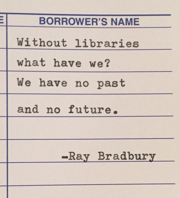 Ray Bradbury typewriter quote on library card by ClairvoyanteBisous