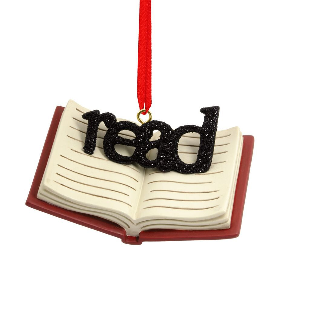 ornament with the word read on top of a book