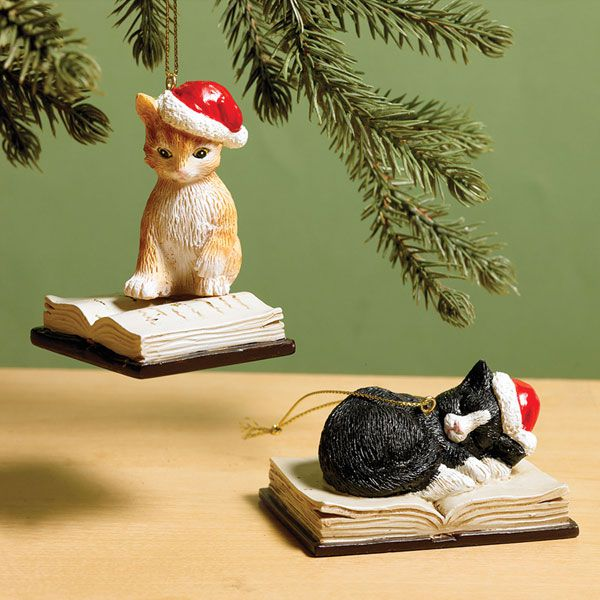 cat and book ornaments