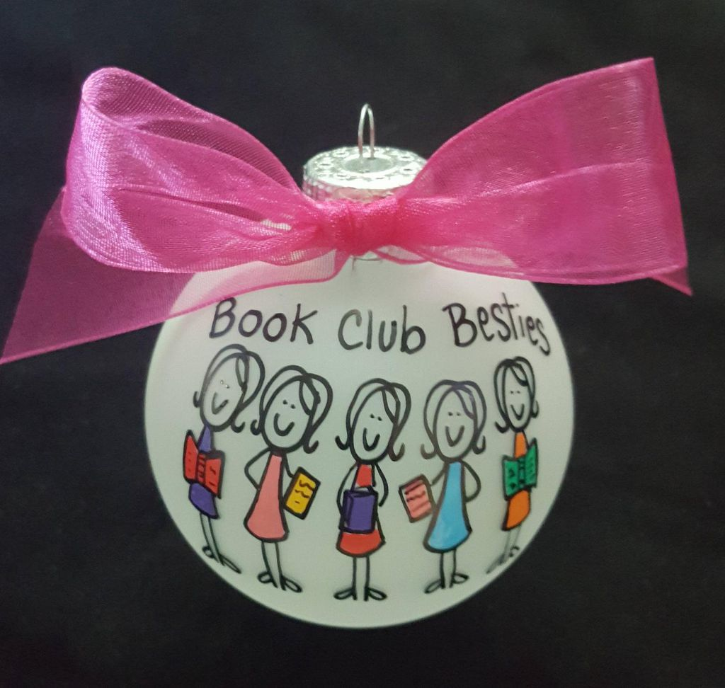 customizable book club ornament -hand-painted figures