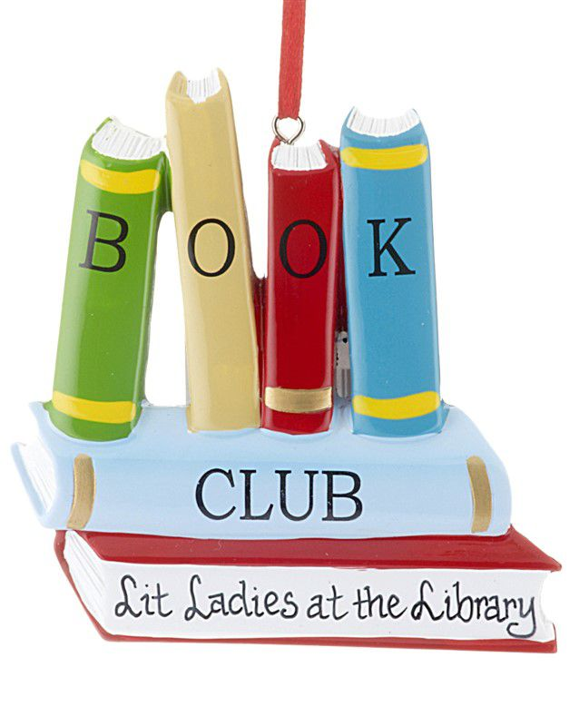 customizable book club ornament - stack of books