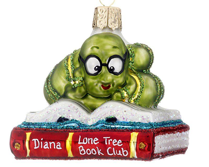 customizable bookworm ornament