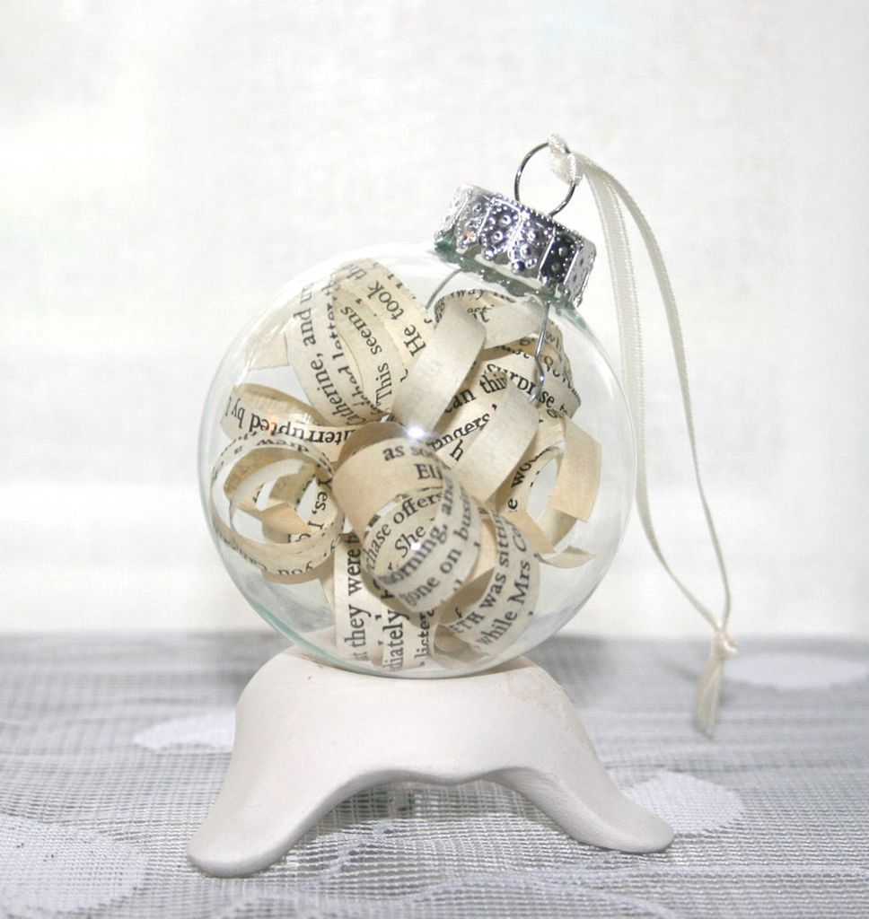 customizable ornament - strips of your favorite book in a glass ornament