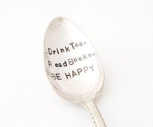 Drink Tea, Read Books, Be Happy Spoon