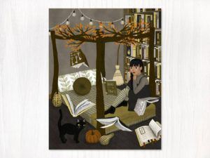 Floating Books Art Print