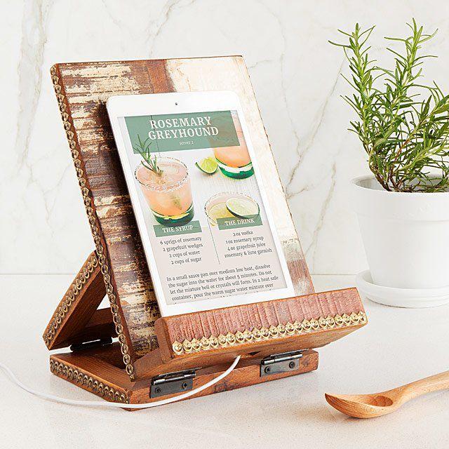 Wooden handmade cookbook stand