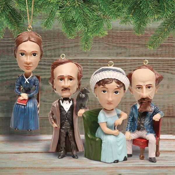 set of figurine ornaments-Emily Dickinson, Edgar Allan Poe, Jane Austen, and Charles Dickens