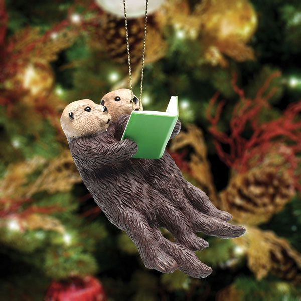otters reading ornament