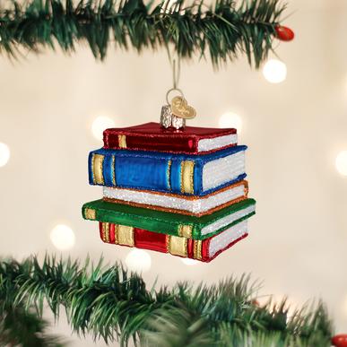 blown-glass stack of books ornament