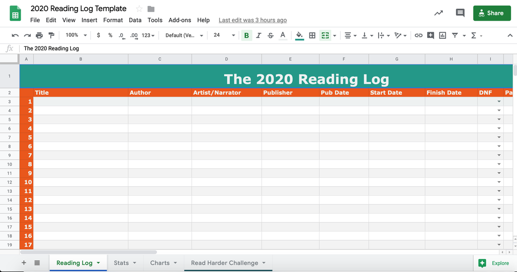 2020 Reading Log
