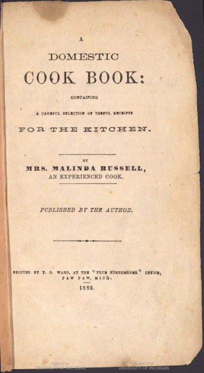 A Domestic Cookbook First Cookbook by African American