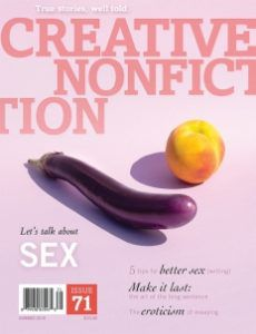 Cover of Creative Nonfiction magazine features a provocative eggplant and peach