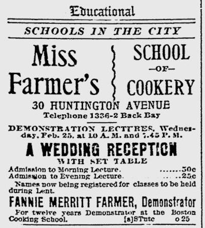 Fannie Farmer School of Cookery Advertisement