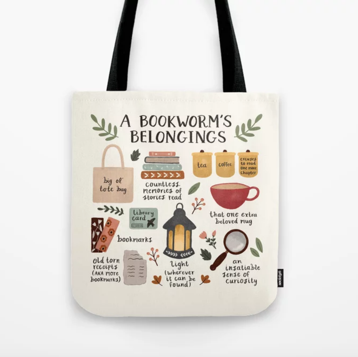 A bookworm's belongings tote bag