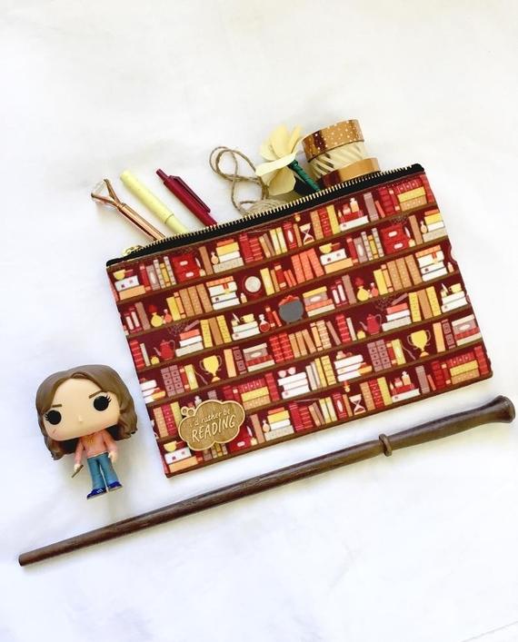 red bookcase pencil case