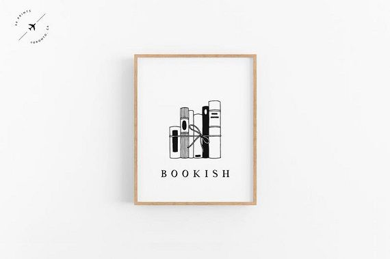print with book stack and word bookish