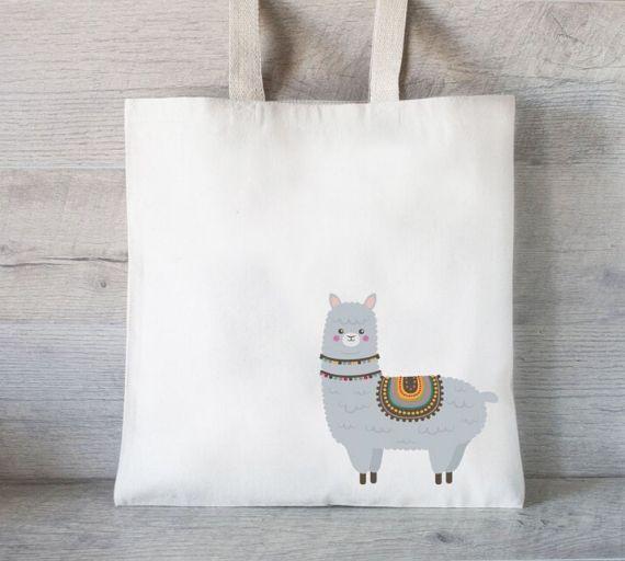 Tote bag with llama print