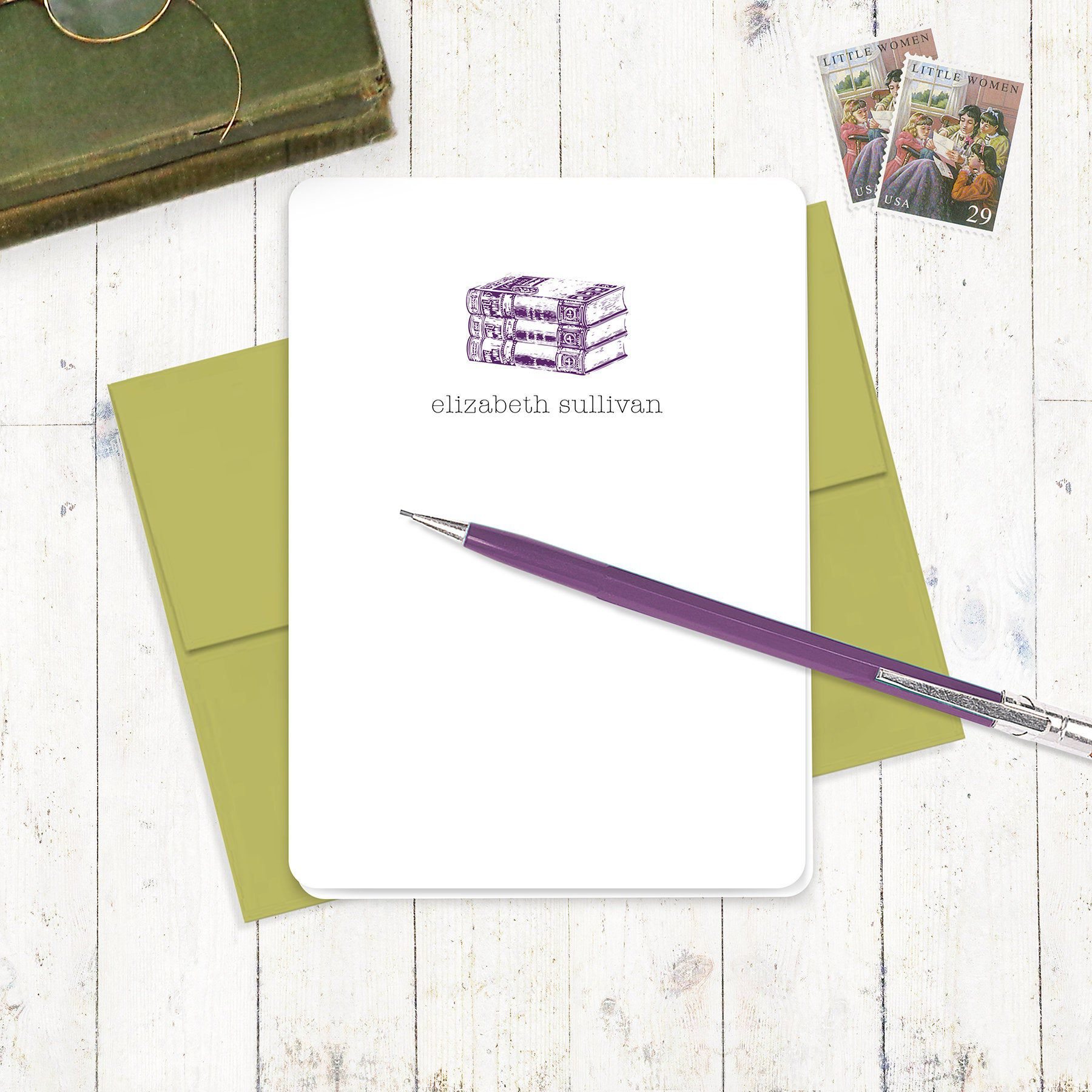 Personalized Vintage Book Stationery Kit