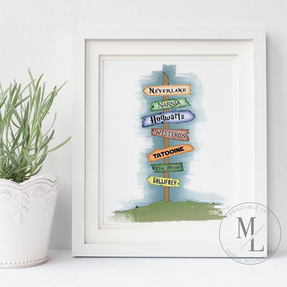 storybook places sign art print