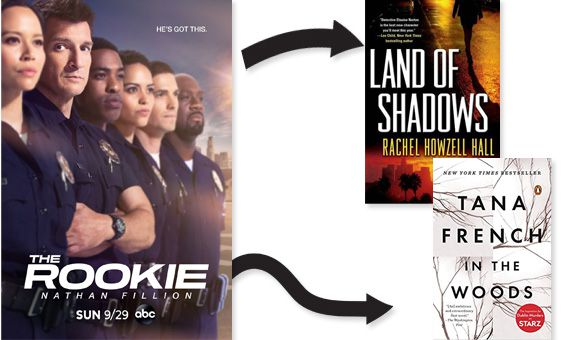 The Rookie poster Land of Shadows and In the Woods cover images