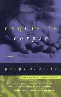 cover of Exquisite Corpse by Poppy Z. Brite, featuring a close up of someone hands behind their back over an image of chains