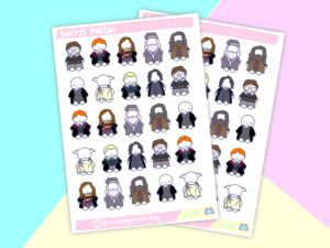 small stickers of Harry Potter characters