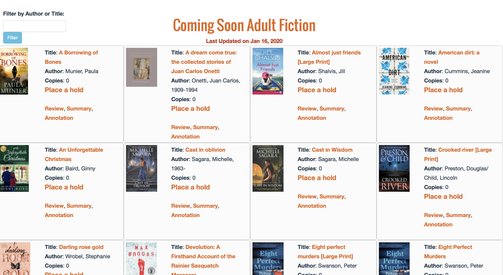 """Screenshot of library """"Coming Soon"""" section"""