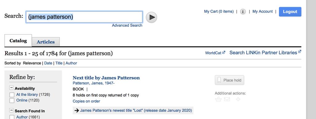 Screenshot of library catalog searching James Pattereson