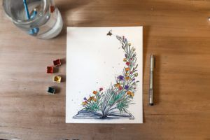 Blossoming Book Print