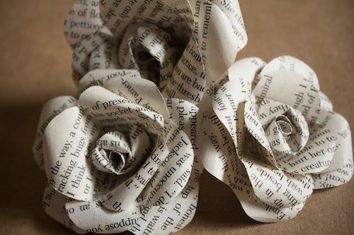 paper roses made from books