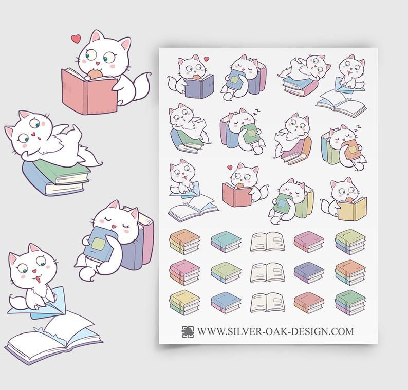 Bookish cat stickers from Etsy https://www.etsy.com/listing/615047394/cute-kawaii-cat-reading-books-planner?ref=landingpage_similar_listing_top-1&frs=1