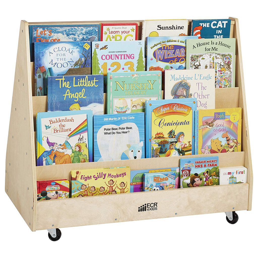Children's book cart from Amazon https://www.amazon.com/ECR4Kids-ELR-0335-Hardwood-Double-Sided-Display/dp/B007RHM29G