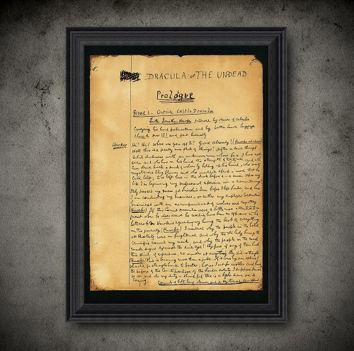 manuscript page print dracula themed gifts