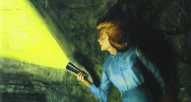 closeup of Nancy Drew from cover of The Hidden Staircase