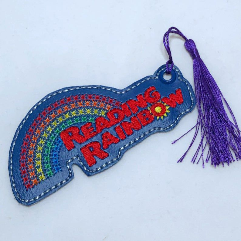 Reading Rainbow Embroidered bookmark