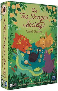 a photo of the box of the card game, which has four baby dragons sitting around a teapot
