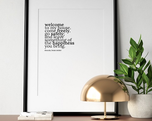 welcome to my home quote print dracula themed gifts