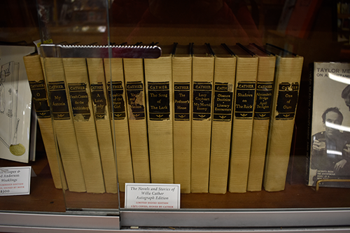 A collection of Willa Cather books with price. (Photo by Alex Luppens-Dale)