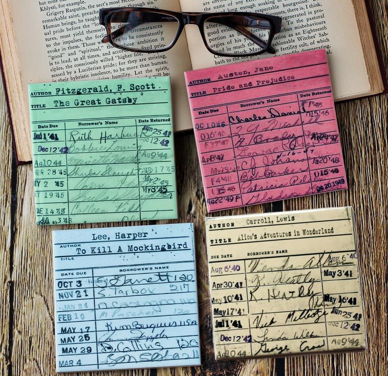 Vintage library card coasters