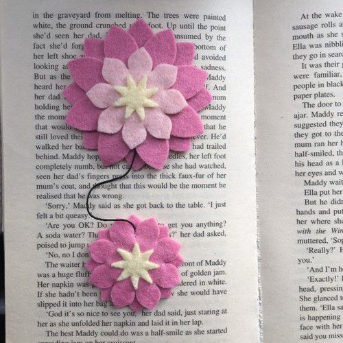 Flower Bookmark by CraftSoSweet from etsy