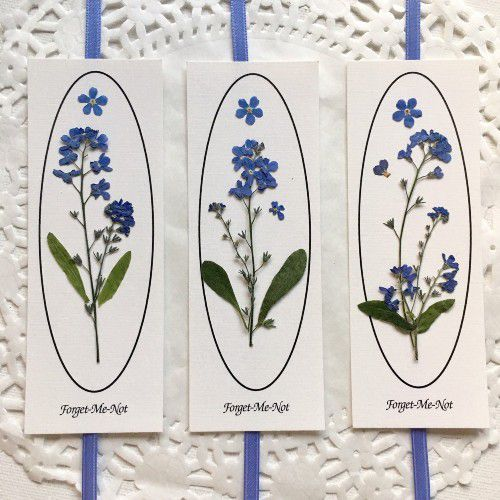 Forget Me Not Floral Bookmark by PatsysPressedFlowers from etsy