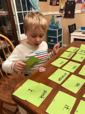 Hide and Seek Sight Word game, photo taken by the author