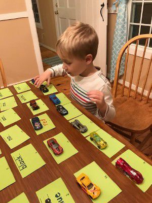 Sight word Hotwheels game photo, photo taken by the author