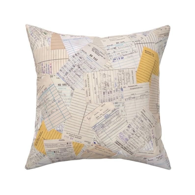 Library card throw pillow