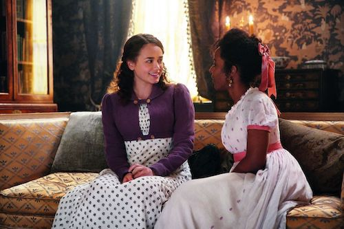 Rose Williams as Charlotte and Crystal Clarke as Georgiana in Sanditon, image from IMDb