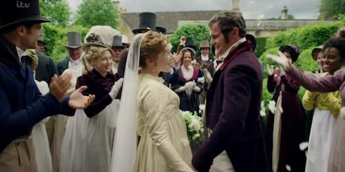 Charlotte Spencer as Esther and Mark Stanley as Babington in Sanditon, image from IMDb