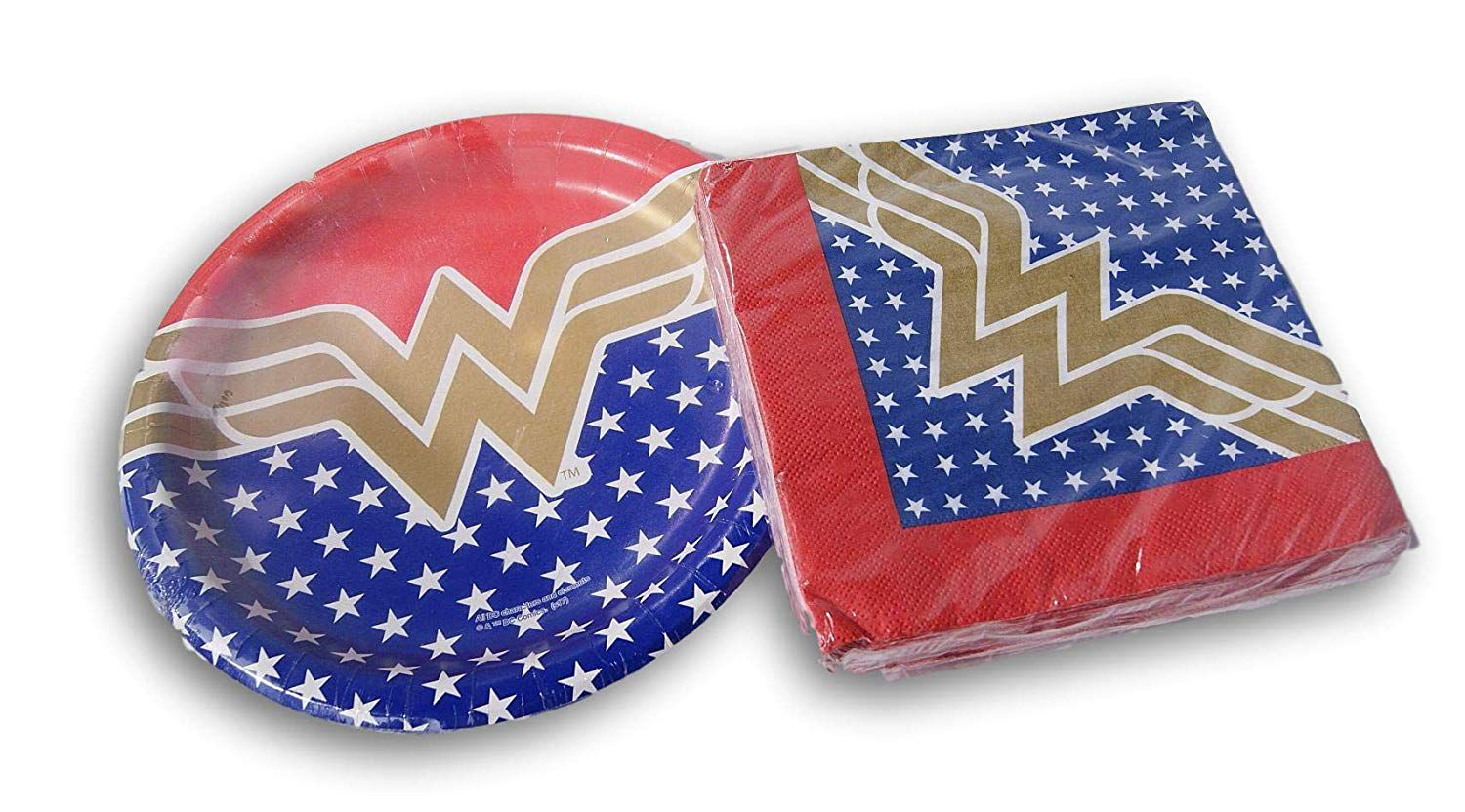 Wonder Woman plates and napkins